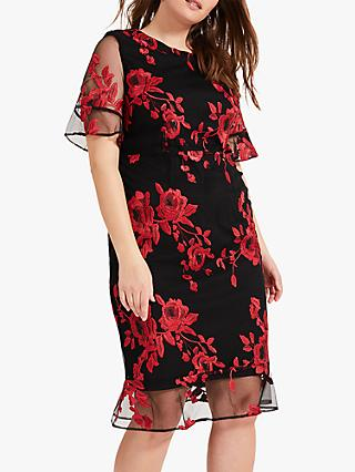 Studio 8 Raven Embroidered Dress, Red/Black
