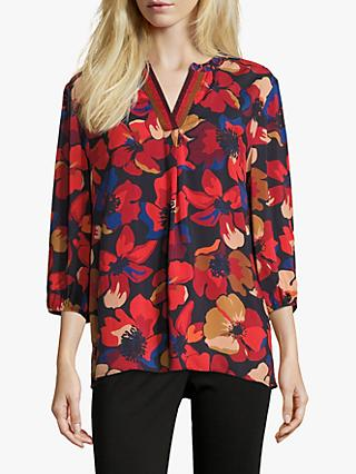 Betty Barclay Floral Print Tunic Top, Red/Dark Blue