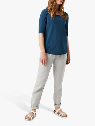 White Stuff Elbow Sleeve Jersey Top, Sea Blue