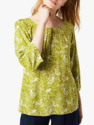 White Stuff Printed Jersey Top, Grassy Green