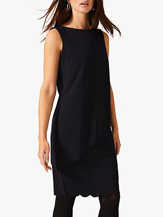 Phase Eight Reanna Scallop Overlay Dress, Navy