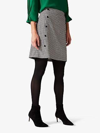 Phase Eight Ridley Dogtooth Mini Skirt, Black/White