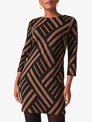 Phase Eight Mirabelle Stripe Tunic Dress, Camel/Black