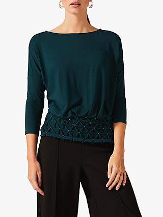 Phase Eight Annina Pintuck Hem Top, Green