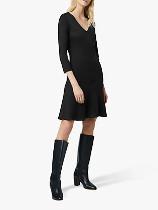 French Connection Sancia Jersey V Neck Dress, Black