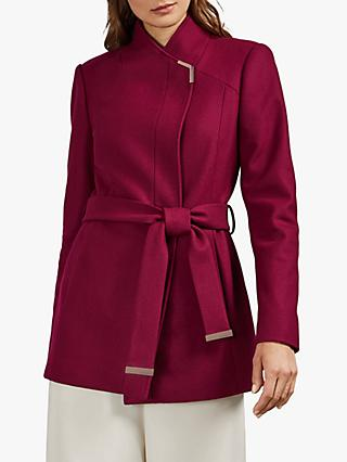 Ted Baker Drytaa Wool Short Belted Wrap Coat, Pink