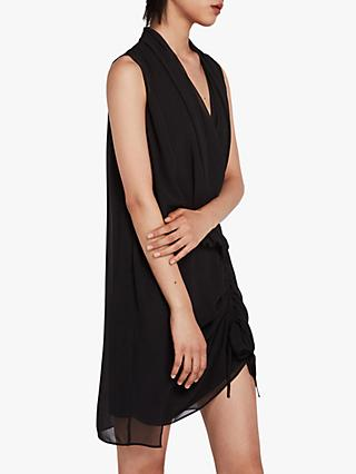 AllSaints Cathea Draped Mini Dress, Black