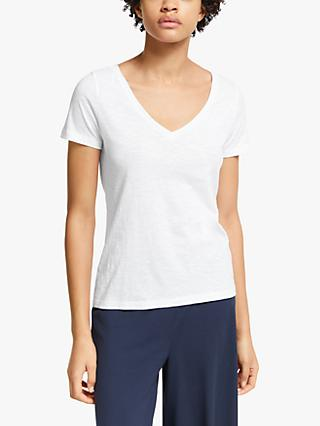 John Lewis & Partners Cotton Slub V-Neck T-Shirt