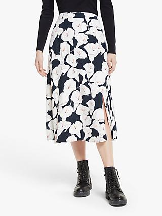 Somerset by Alice Temperley Lily Print Midi Skirt, Black/Multi