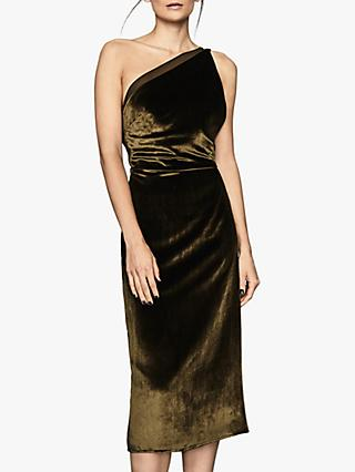 Reiss Eden Velvet One Shoulder Dress, Khaki