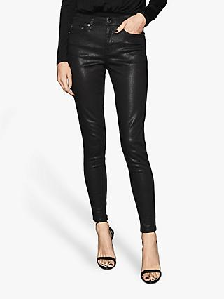 Reiss Lux Metallic Skinny Jeans, Black