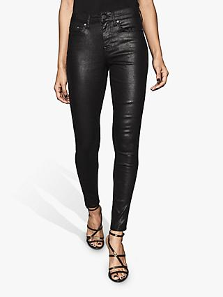 Reiss Lux Snake Effect Coated Mid Rise Skinny Jeans, Black