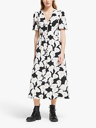 Somerset by Alice Temperley Lily Print Midi Dress, Black/Multi