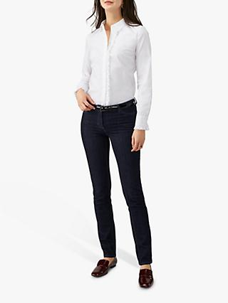 Pure Collection Cotton Ruffle Shirt, White
