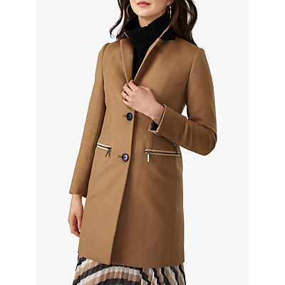 Pure Collection Zip Detail Coat, Camel