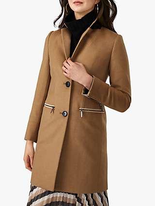 Pure Collection Zip Detail Coat, Camel