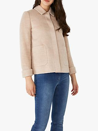Pure Collection Wool Blend Short Swing Coat, Soft Neutral