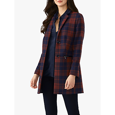 Pure Collection Zip Detail Coat, Navy Check