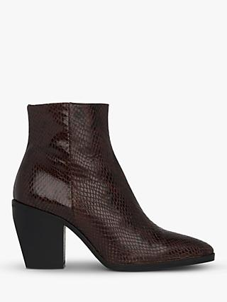 Whistles Grove Western Leather Ankle Boots, Snake Print