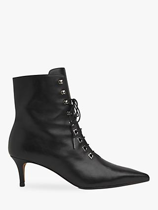 Whistles Celeste Kitten Heel Lace Up Ankle Boots, Black