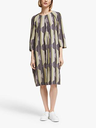 Kin Inari Print Pleat Dress, Yellow