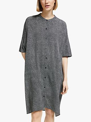 Kin Doshida Print Oversized Shirt Dress, Black