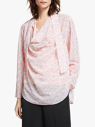 Modern Rarity Wave Print Cowl Neck Top, Pink