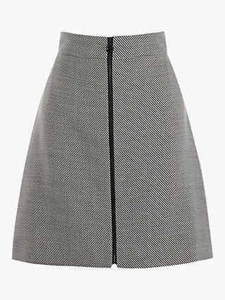 Karen Millen Graphic A-Line Skirt, Black/White