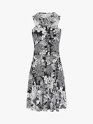 Karen Millen Printed Halterneck Dress, Black/White