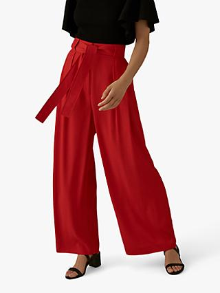 Karen Millen Wide Leg Tie-Waist Trousers, Red