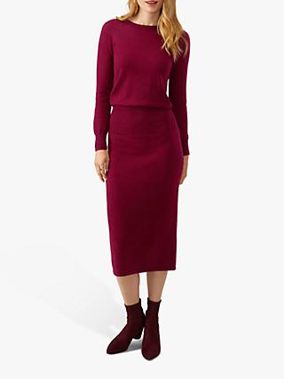 Pure Collection Knitted Ribbed Dress, Deep Claret