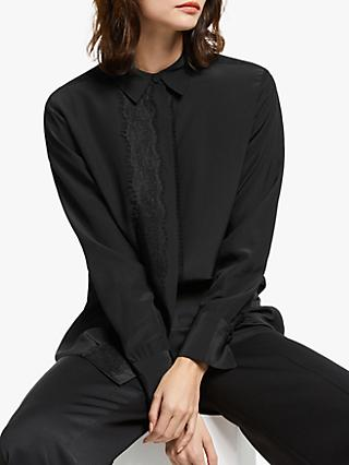 Modern Rarity Silk Lace Trim Shirt, Black