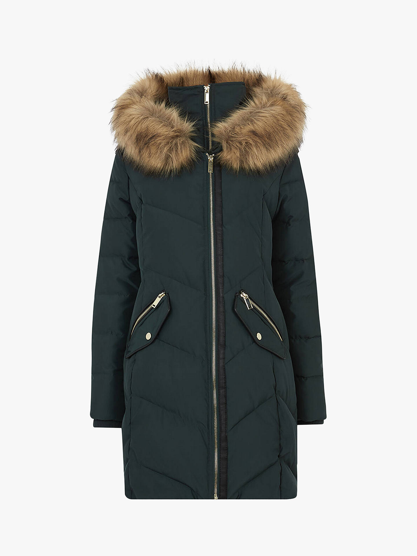 Oasis Albany Long Padded Coat, Deep Green by Oasis
