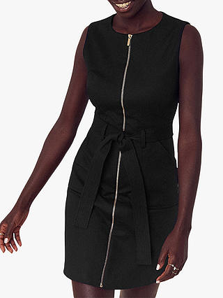 Buy Oasis Cotton Blend Utility Shift Dress, Black, 16L Online at johnlewis.com