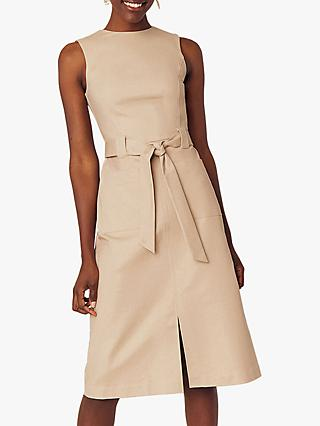 Oasis High Neck Midi Dress, Stone