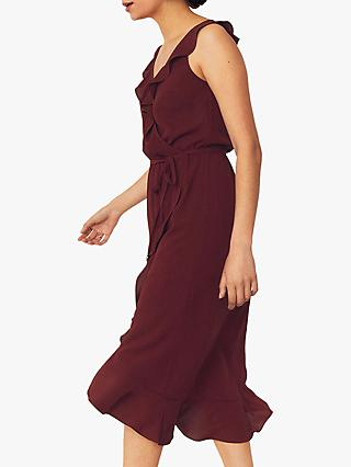 Oasis Ruffle Wrap Sleeveless Midi Dress, Berry