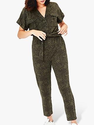 Oasis Animal Print Utility Jumpsuit, Multi/Green