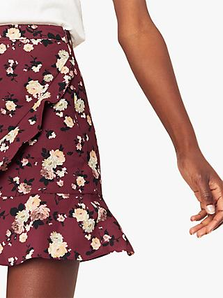 Oasis Floral Wrap Mini Skirt, Red/Multi