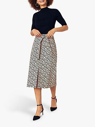 Oasis Animal Midi Skirt, Neutral/Multi