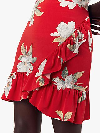 Oasis Floral Rose Wrap Mini Skirt, Red