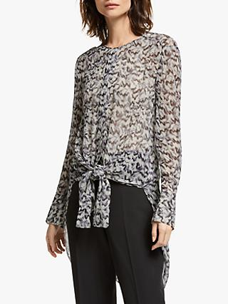 Modern Rarity Archive Print Tie Front Top, Black/Multi
