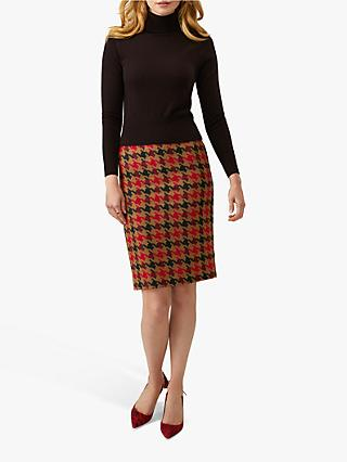 Pure Collection Wool Pencil Skirt, Camel Giant Dogtooth