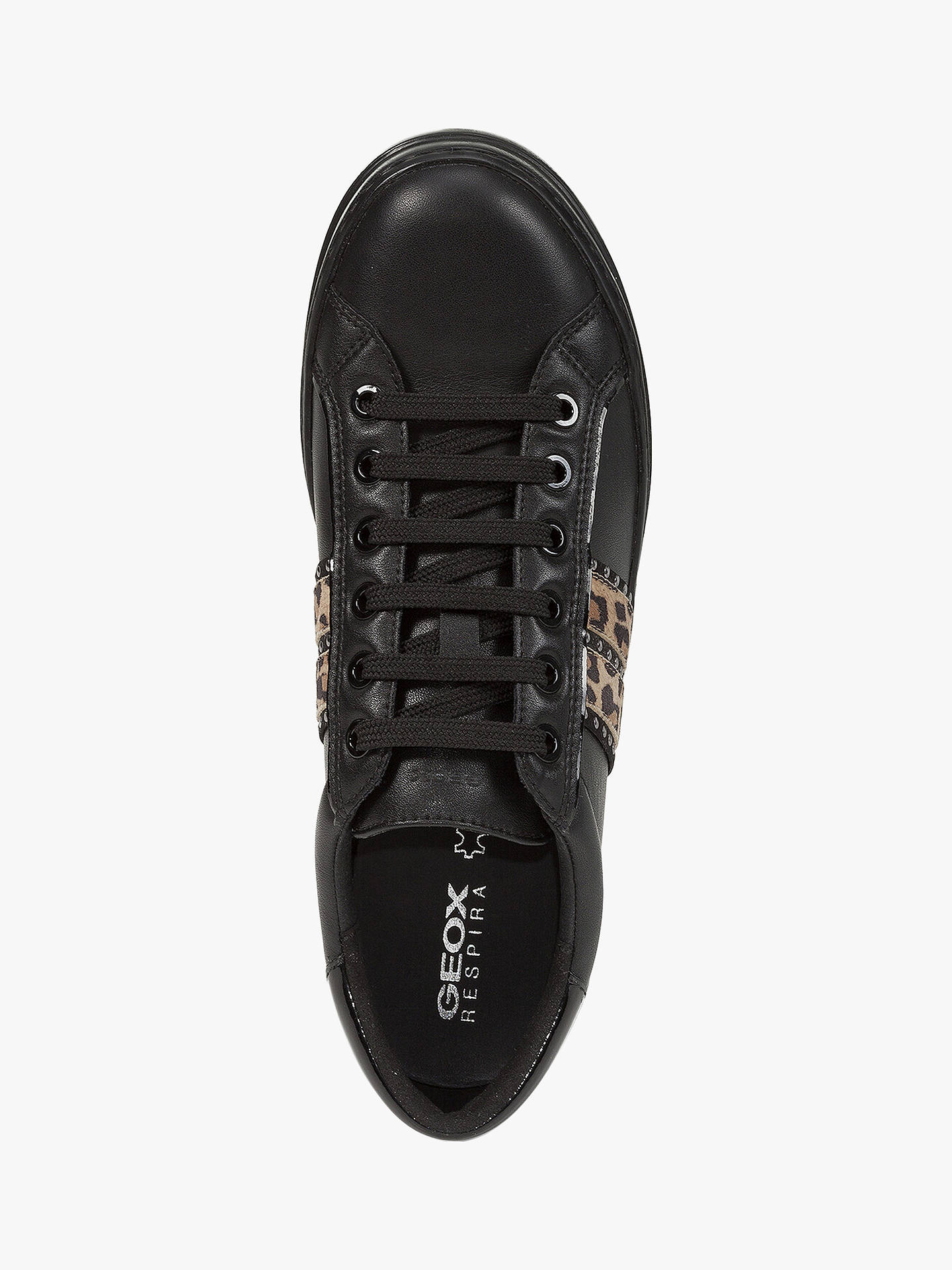 Buy Geox Women's Pontoise Leopard Print Stud Trainers, Black, 6 Online at johnlewis.com