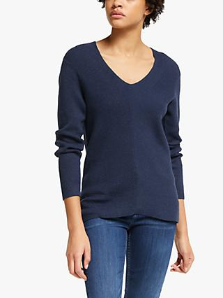 John Lewis & Partners Cotton V-Neck Sweater
