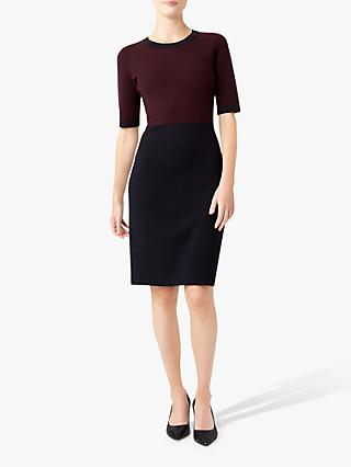 Hobbs Eden Pencil Dress, Burgundy/Navy
