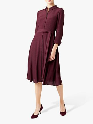 Hobbs Lainey Shirt Dress, Burgundy/Navy