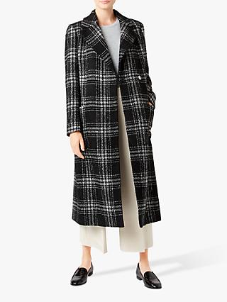Hobbs Florina Check Coat, Black/Ivory