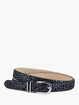 Hobbs Helena Slim Leather Belt, Metallic