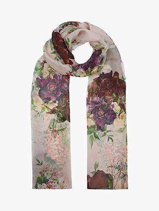 Hobbs Thao Floral Silk Scarf, Pink/Green