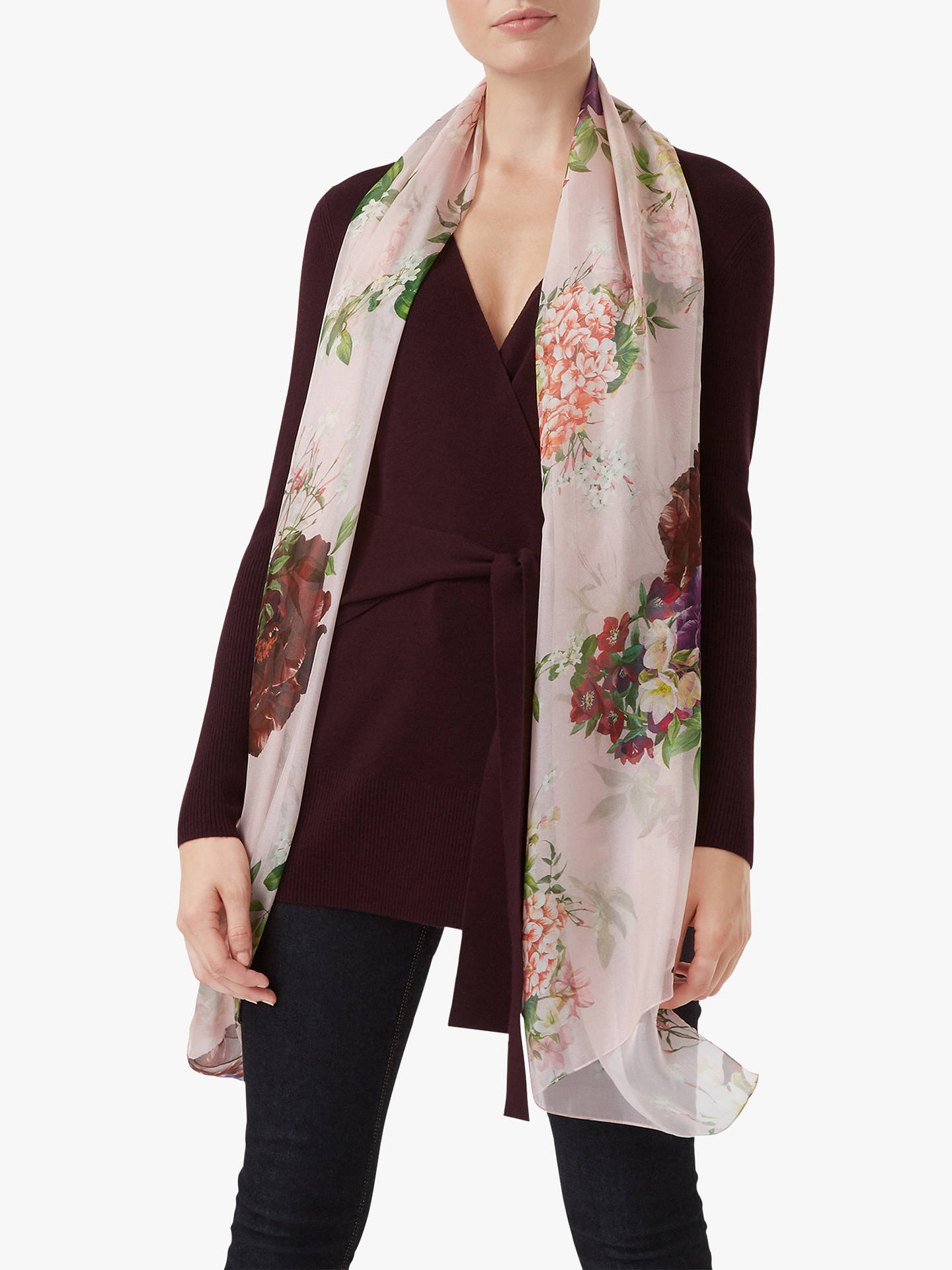 Buy Hobbs Thao Floral Silk Scarf, Pink/Green, One Size Online at johnlewis.com